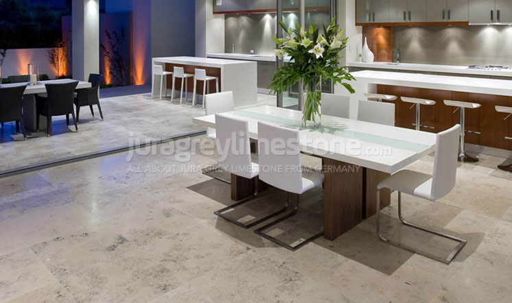 Jura Grey limestone polished flooring - UK